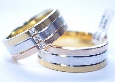 1 Paar Trauringe Gold 585 - Tricolor - Breite: 7,5mm - Höhe 1,7mm + Zirkonia !