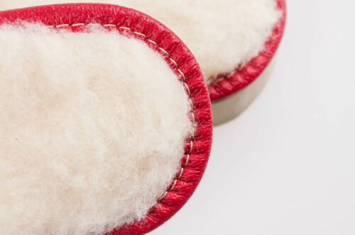 Women Red 100/% Suede Leather Slippers Wool Shoes Size 3 4 5 6 7 8Flip-Flop
