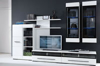 White Gloss Modern Living Room Furniture Set - Led Wall Unit Tv Cabinets Fever 2