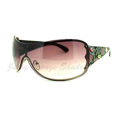 Womens Oversized Rimless Shield Sunglasses Rose Rhinestone