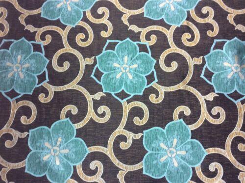 Noir /& Bleu Sarcelle Floral Caravane Rideau Aveugle Soft Furnishing tissu