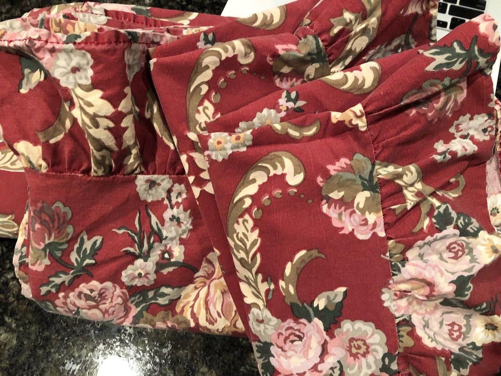 Vintage Ralph Lauren Marseilles Red Floral Queen Sheet Set 4 Pc