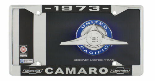 "1973 Chevy /""Camaro/"" Chrome License Plate Frame with Year and Chevrolet Bowtie"