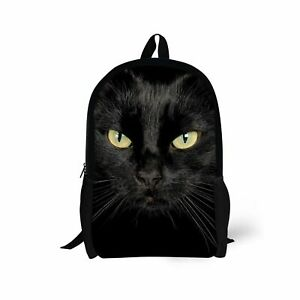 Fashion Schooltas Black Bookbag Girls Cat Reistasrug Backpack Tieners Duurzame axxSF6