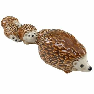 Goebel Hedgehogs Family Figurine Hand Painted Porcelain W Germany Vtg 35 502-03