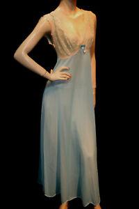 S-Blue-Vtg-1950s-1960s-Nylon-Vanity-Fair-Nightgown-Ecru-Chiffon-Lace-50s-60-Gown