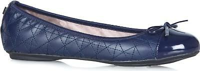 Butterfly Twists OLIVIA Ladies Womens Quilted Ballerina Flat Shoes Navy Blue
