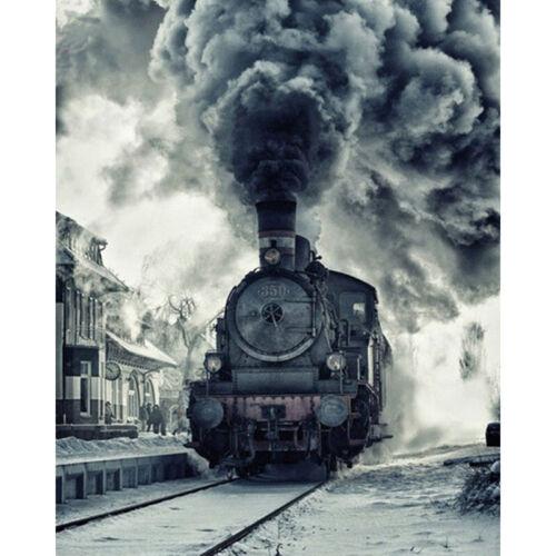 Full Drill Diamond Painting Kit Like Cross Stitch Steam Train Railway DIY ZY274E