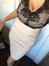 BNWT Peach Nude & Black Bodycon Dress Size 8 Celeb Lined Wedding Party Holiday