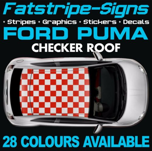 FORD PUMA GRAPHICS CHECKER ROOF CAR STRIPES DECALS STICKERS ZETEC RALLY RACING
