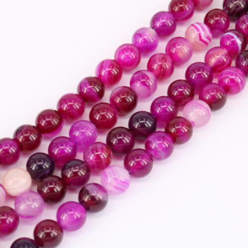 1 Bunch Round Rose Red Stripes Agate Loose Bead Pendant Necklace Jewelry Making