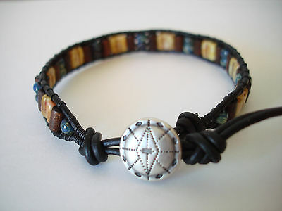 Czech Glass & Wood Beads On Antique Brown Leather Wrap Bracelet Handmade