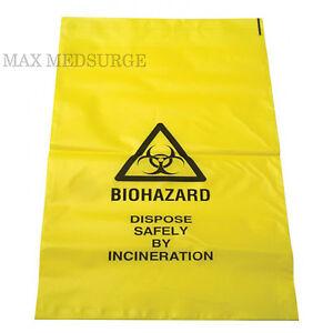 35cm x 20cm Self Seal Clinical Sick//Vomit Disposal 10x Yellow Biohazard Bags