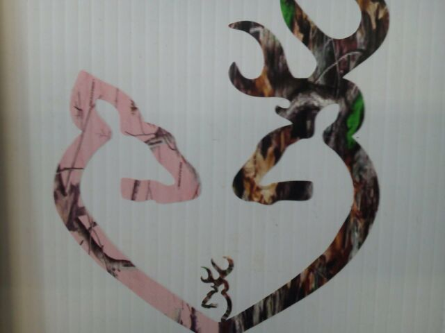 Browning Style Reg Buck and Pink Camo Doe Heart w/ 1 Baby Buck Sticker Decal