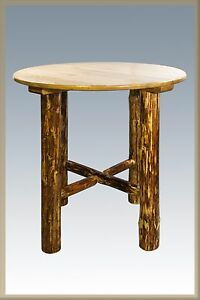 Rustic log pub table lodge cabin bistro tables 40 amish made image is loading rustic log pub table lodge cabin bistro tables watchthetrailerfo