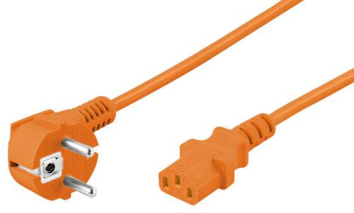 Netzkabel abgewinkelter Schutzkontakt PC Kabel Kaltgerätestecker 3 m, Orange