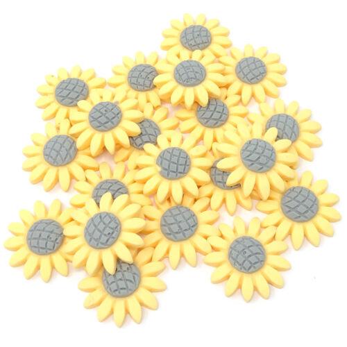 20x 22mm Soft Feel Sunflower Flatbacks Craft Cardmaking Embellishments-6 Colours