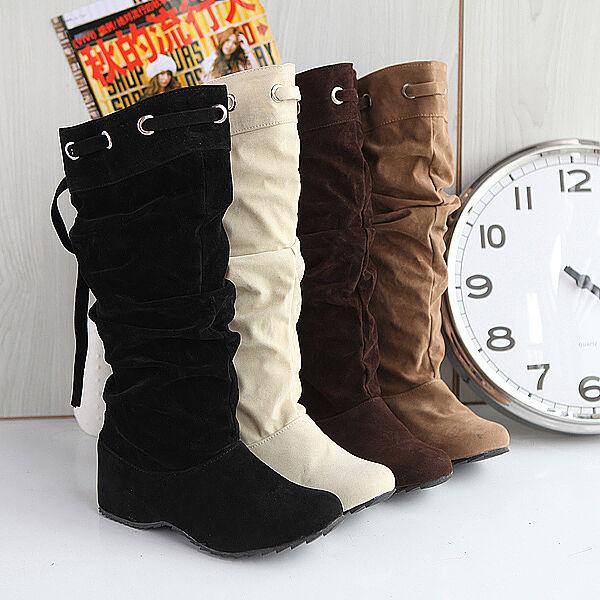 Fashion Womens Faux Suede Slouch Hidden Mid Heels Heels Mid Girls Mid Calf Cowboy Boot SZ 81158c