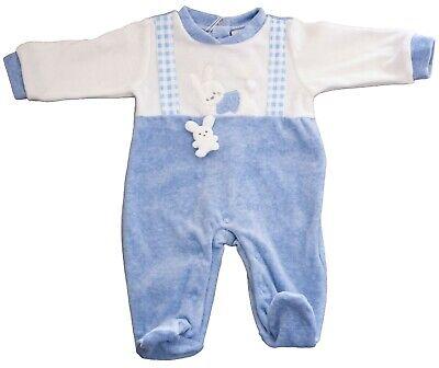 Blu, 3-6 Mesi Melanie Tutina Invernale Pagliaccetto Body Neonato Maschietto in ciniglia T106 Blu