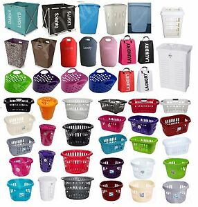 Plastic-Large-Laundry-Washing-Basket-Hip-Clothes-Storage-Hamper-Linen-Round-Bin