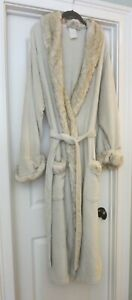 Pottery Barn Ivory Faux Fur Trim Robe Xl Ebay