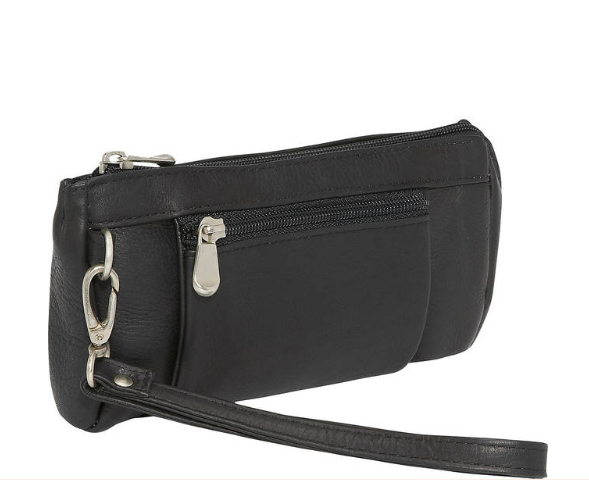 Le Donne Leather Large Wristlet Wallet - Black