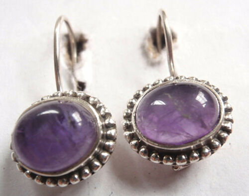 Amethyst 925 Sterling Silver Wire Back Earrings with Silver Bead Accents