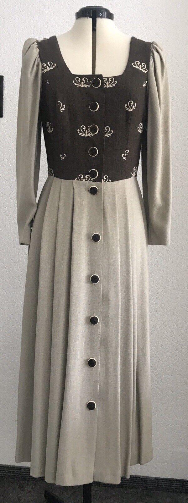 Apart Dirndl Trachtenkleid Balkonett Kleid Festtagskleid Gr.36 Braun/Beige