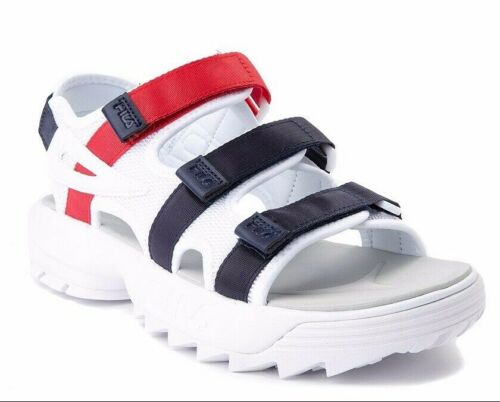 DISRUPTOR FILA PLATFORM STRAP SANDALS WHITE NAVY RED WOMENS SZ 9 NEW FAST