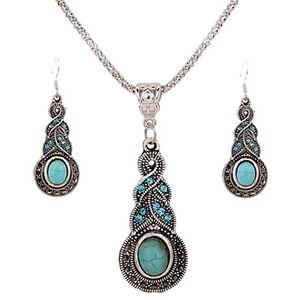 Elegant-Retro-Turquoise-Dangel-Crochet-Boucles-d-039-oreilles-et-Colli-M4
