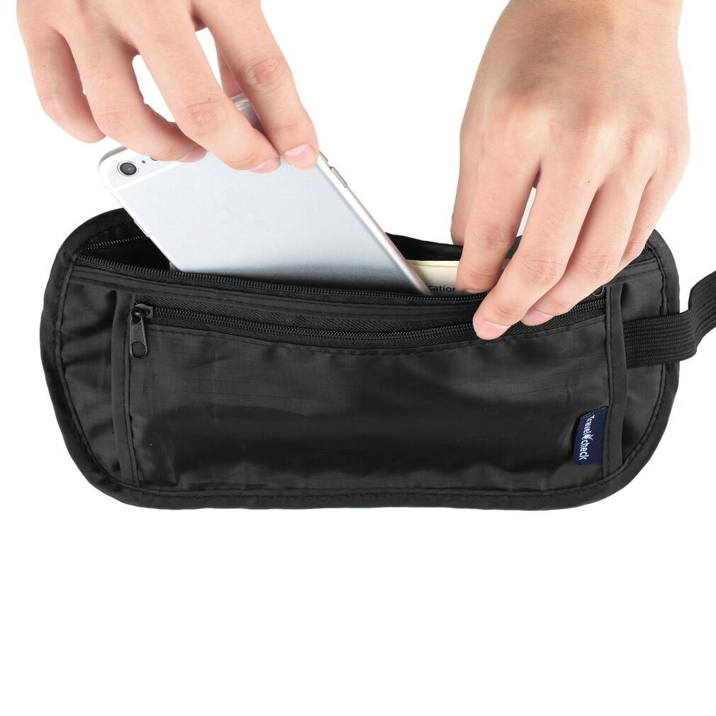 Travel Pouch Hidden Zippered Waist Waist Waist Compact Security Money Waist Belt Bag HOT XM 86286c