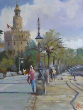 "ORIGINAL MICHAEL RICHARDSON OIL ""Torre D'Oro Sevilla"" Seville Spain PAINTING"