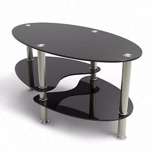 Coffee Table Glass Oval Side Shelves Chrome Base Living Room Furniture Black 699997982125 Ebay