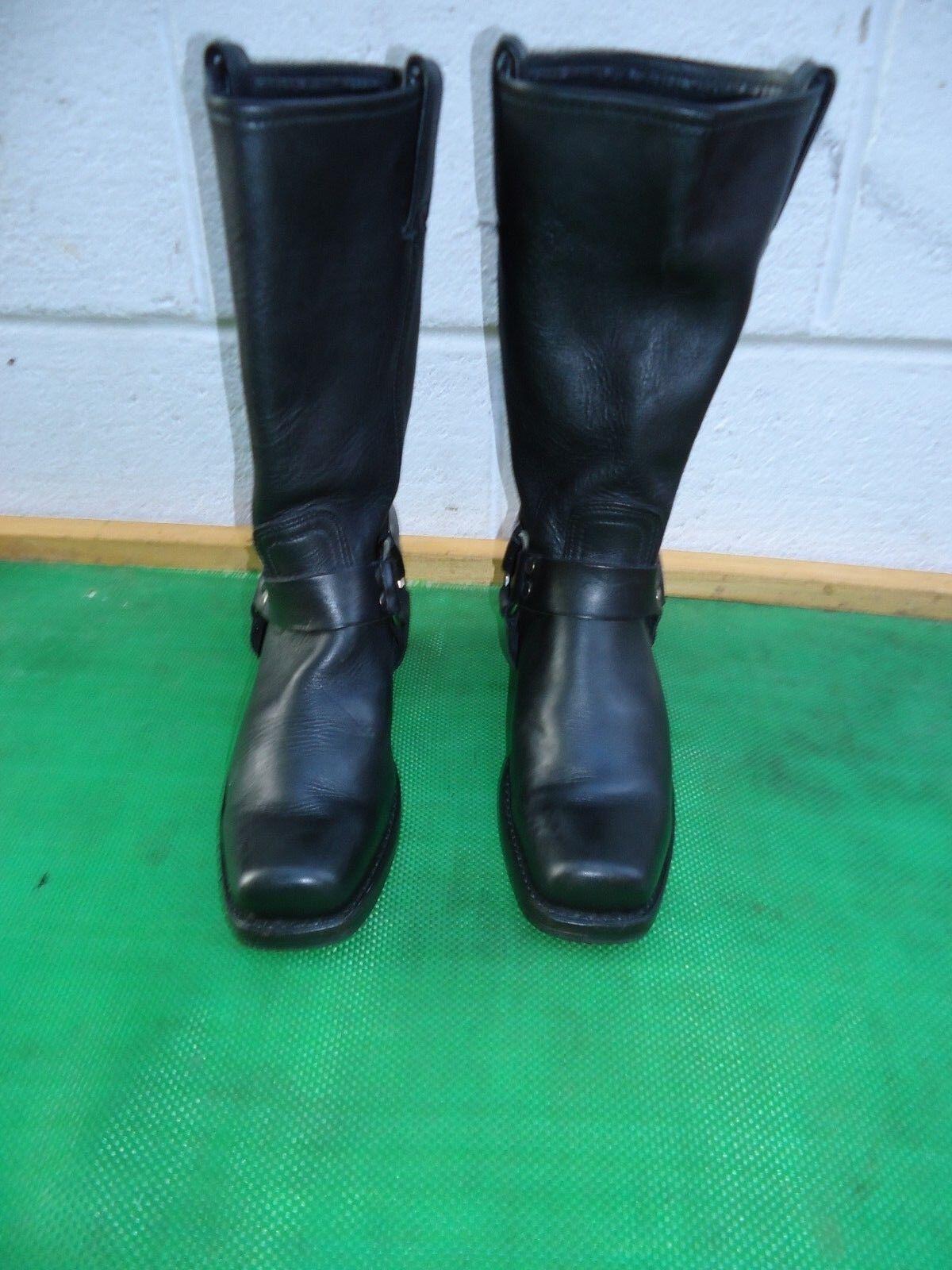 FRYE FRYE FRYE Harness  77300 Black Leather Riding Biking Motorcycle Boot Women SZ 8 M 04781d