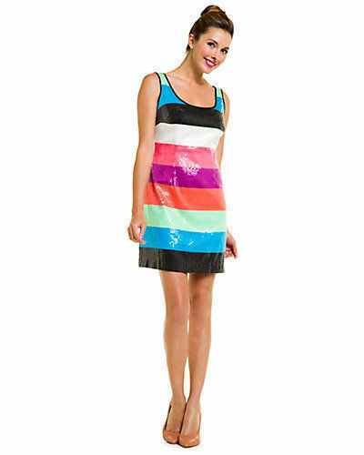 Lilly Pulitzer Multicolor Printed Stripe Sequin Lucy Dress 630306962643 New