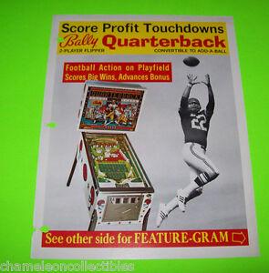 QUARTERBACK-By-BALLY-1977-ORIGINAL-PINBALL-MACHINE-PROMO-SALES-FLYER