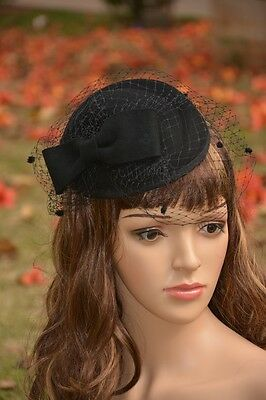 Womens Fascinator Wool Pillbox Formal Race Day Ascot Cocktail Hat Wedding A068