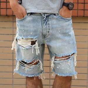 Hot Fashion Men S Denim Distressed Short Pants Summer Ripped Holes