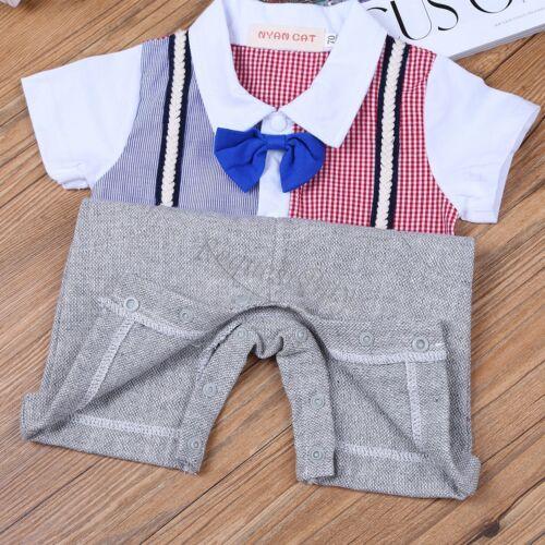 Baby Boy Wedding Party Tuxedo Suits Bowtie Romper One-Piece Outfit 0-24M NEWBORN