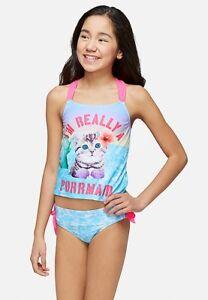 d0c385cc4b NWT JUSTICE Girl PURRMAID Mermaid Kitty Cat Tankini Swimsuit 6 8 10 ...