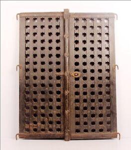1800-039-S-OLD-ANTIQUE-WOODEN-HAND-CARVED-BRASS-WORK-WINDOW-DOOR-6607