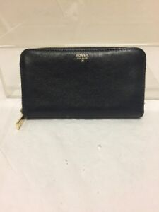 Fossil-Womens-Purse-Wallet-Blue-Leather