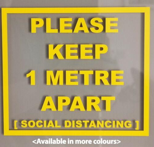 1 METRE SOCIAL  DISTANCE Shop SIGN Vinyl Square Sticker SOCIAL DISTANCING