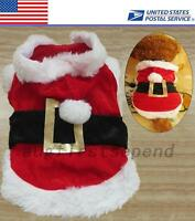 X'mas Celebrate Christmas Puppy Dog Costumes Santa Pet Red Coat Jacket Holiday