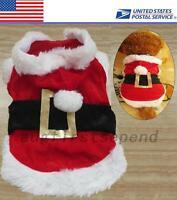 X'mas Celebrate Christmas Puppy Dog Costumes Santa Pet Red Coat Jacket Holiday