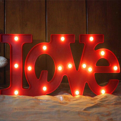 Alphabet LED Lights Battery Operated For DIY Party Wedding Décor,Love-Red