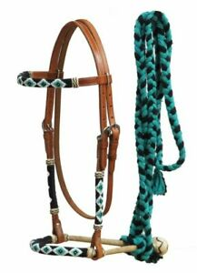Western-Leather-Bosal-Headstall-Bridle-w-Teal-Beaded-Overlays-amp-Mecate-Reins