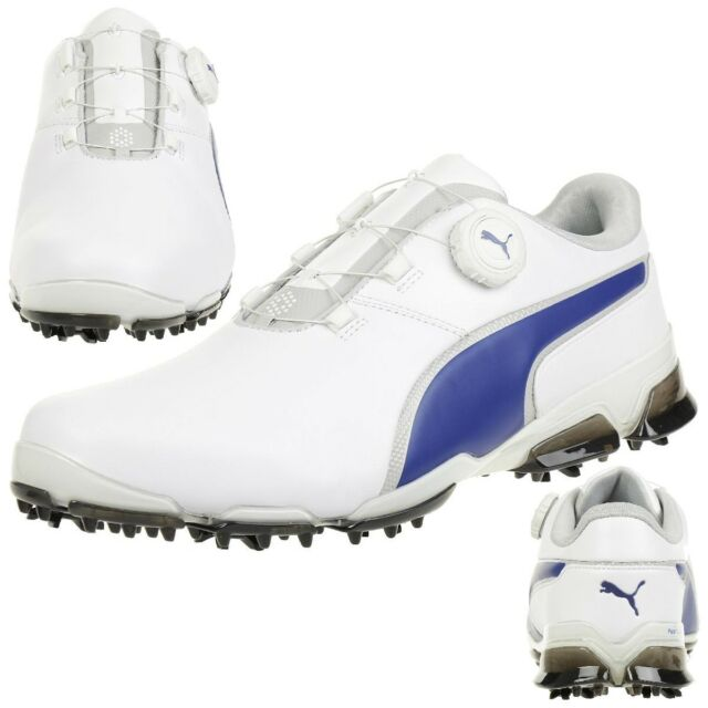 81b55101e2f Puma Titantour Ignite Disc Men s Golf Shoese Golf Leather 189427 05 White  Blue