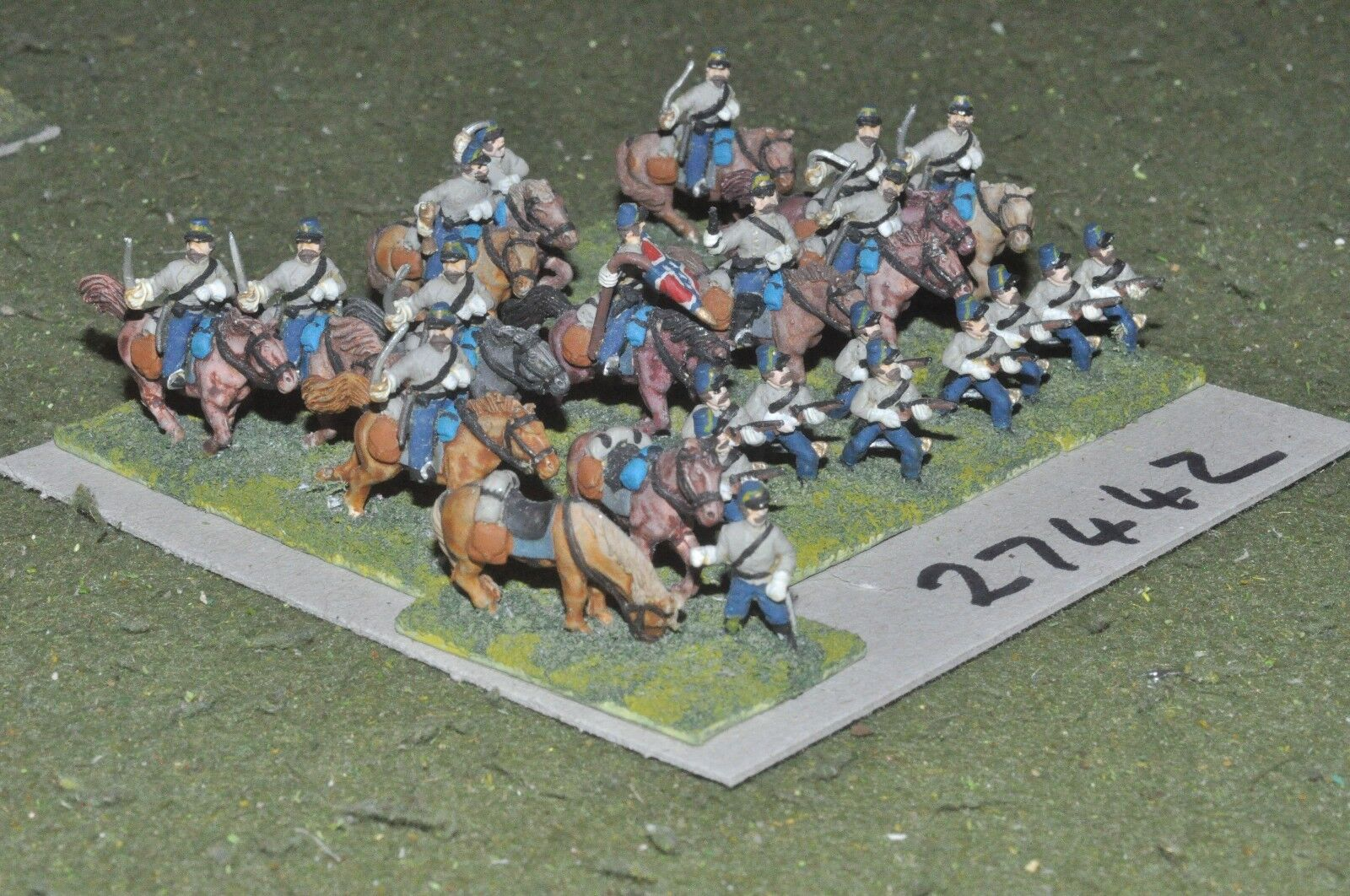 15mm ACW   confederate - mounted & dismounted 22 figures - cav (27442)