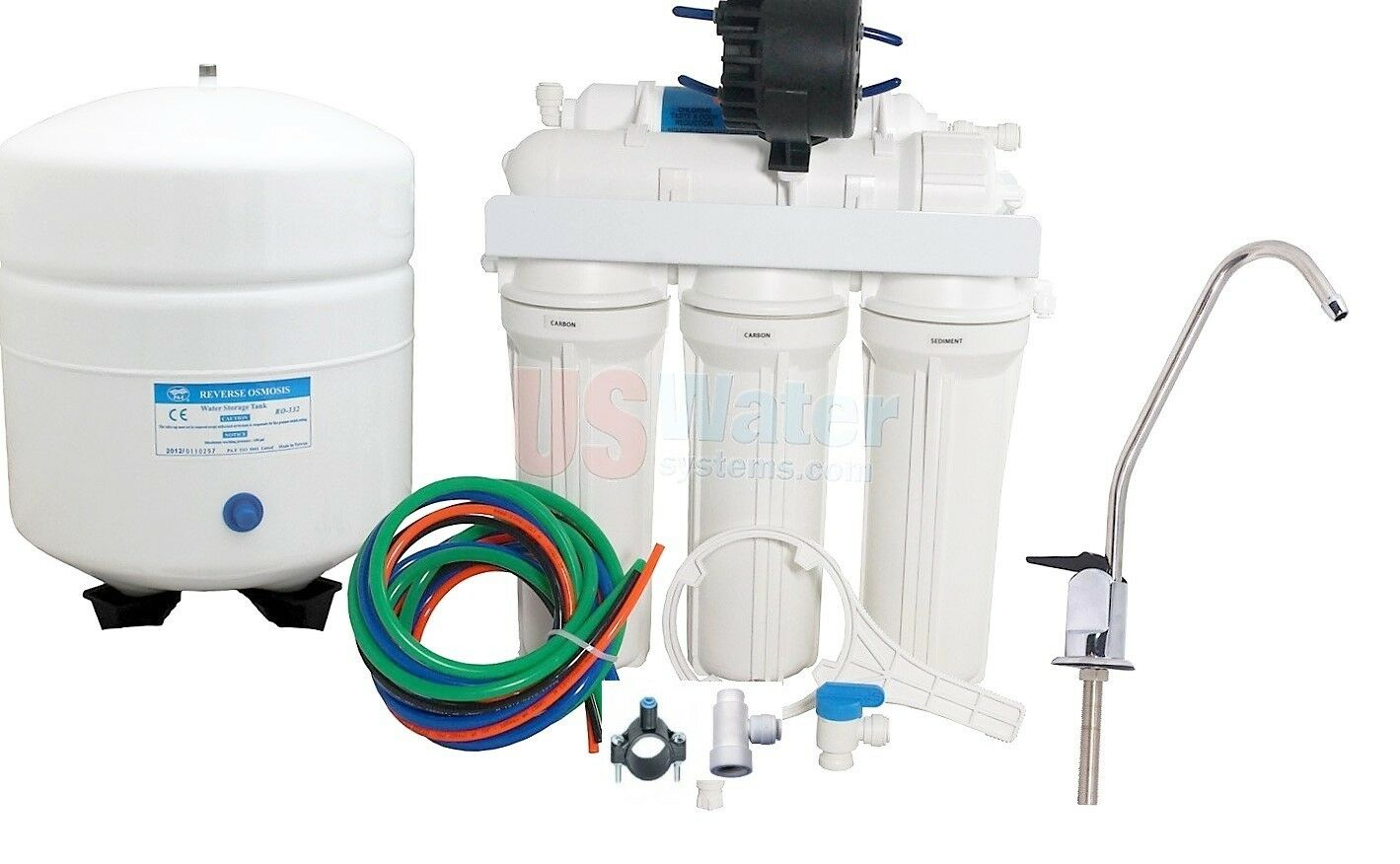 Osmose Inverse Osmose Inverse Filtre à Eau 50GPD avec pompe permeate ERP 500-rouge-6G Tank